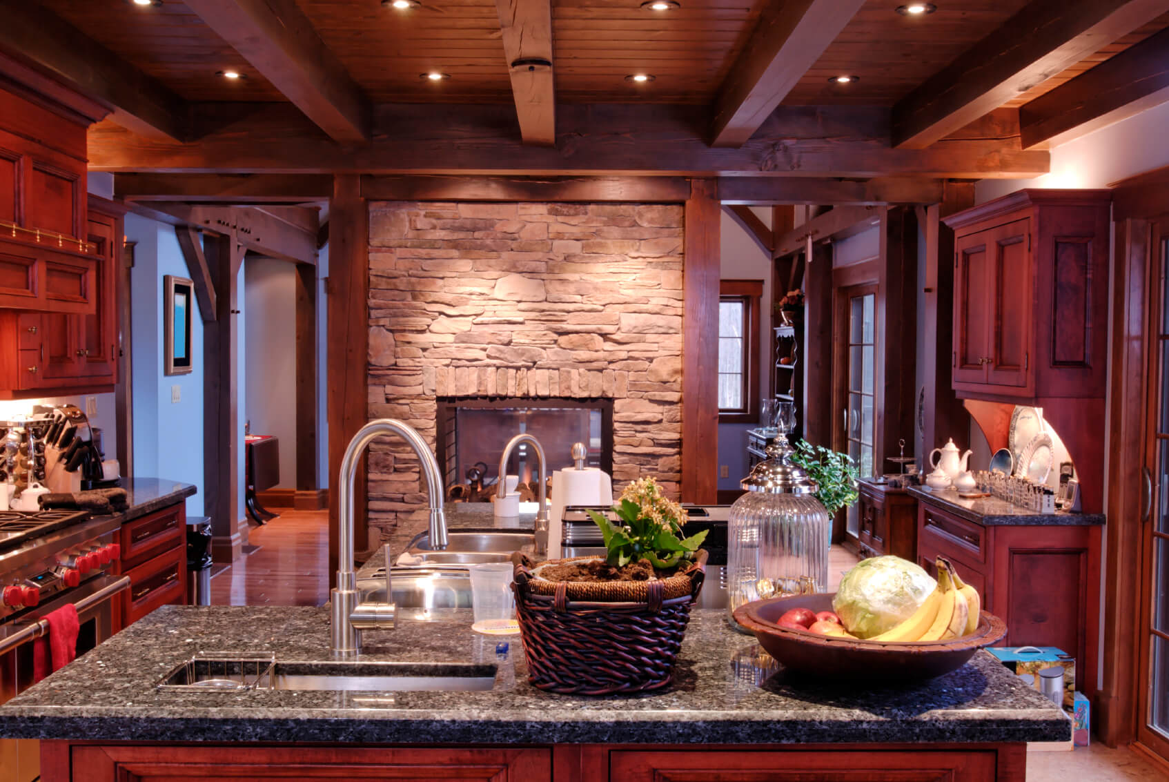 dark kitchen cabinets cherry wood cabinets kitchen Here we see the prior rustic look kitchen at night time with embedded light highlighting