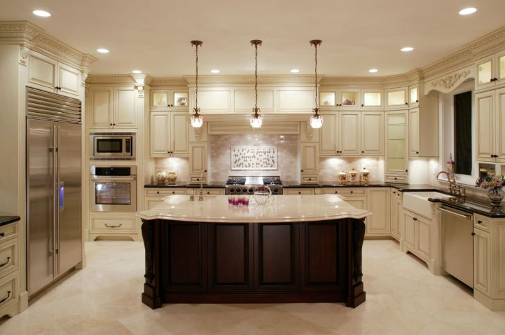 u shaped kitchen designs kitchen designs with islands This U shaped kitchen centers around a large dark wood island with classic marble countertop