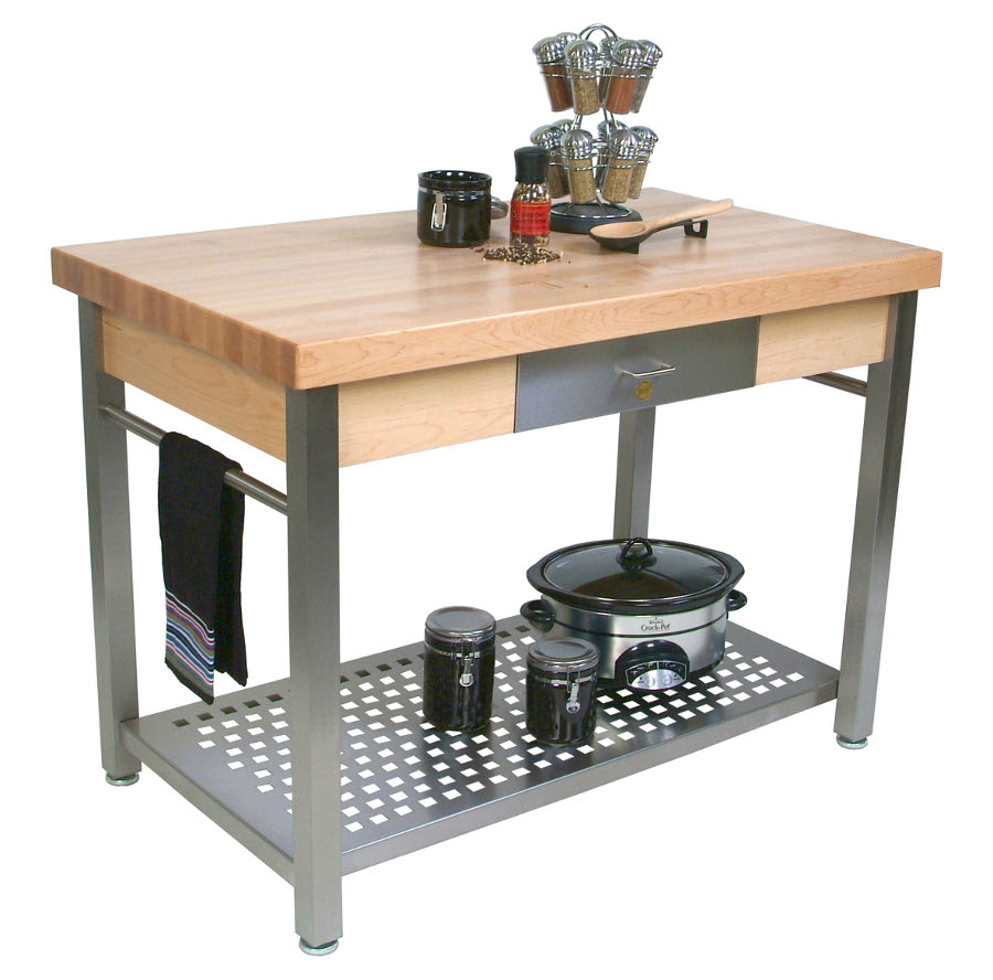 butcher block table stainless steel kitchen table Boos Cucina Grande Prep Station Optional Pot Rack Leaf 48