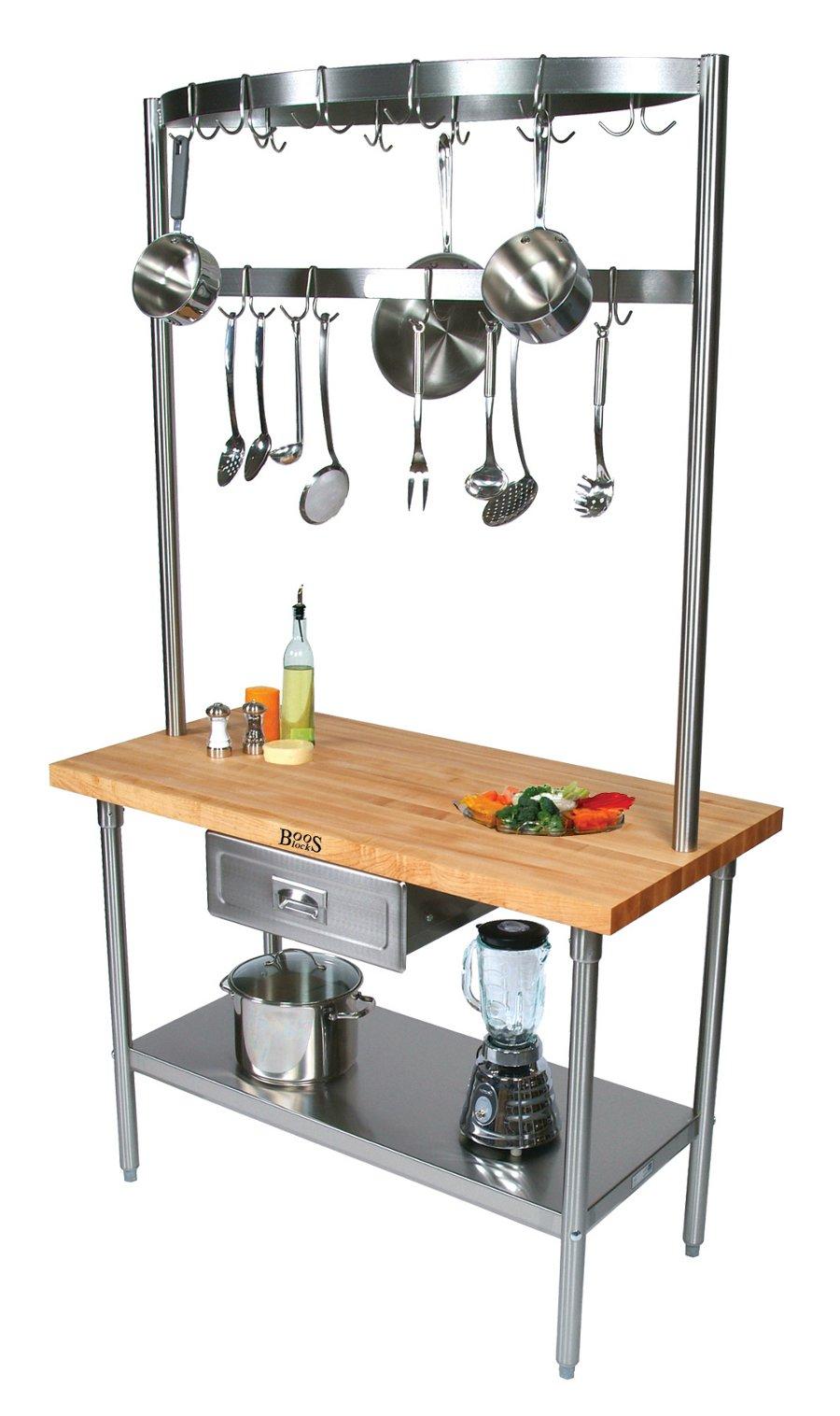 john boos cucina grande maple steel work table kitchen work table Boos Cucina Grandioso Prep Table Optional Pot Rack Kitchen Work