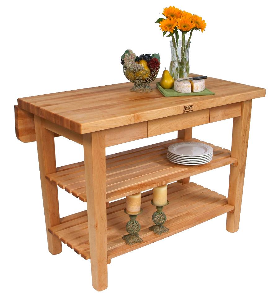 butcher block table kitchen prep tables John Boos Kitchen Island Bar w Drop Leaf