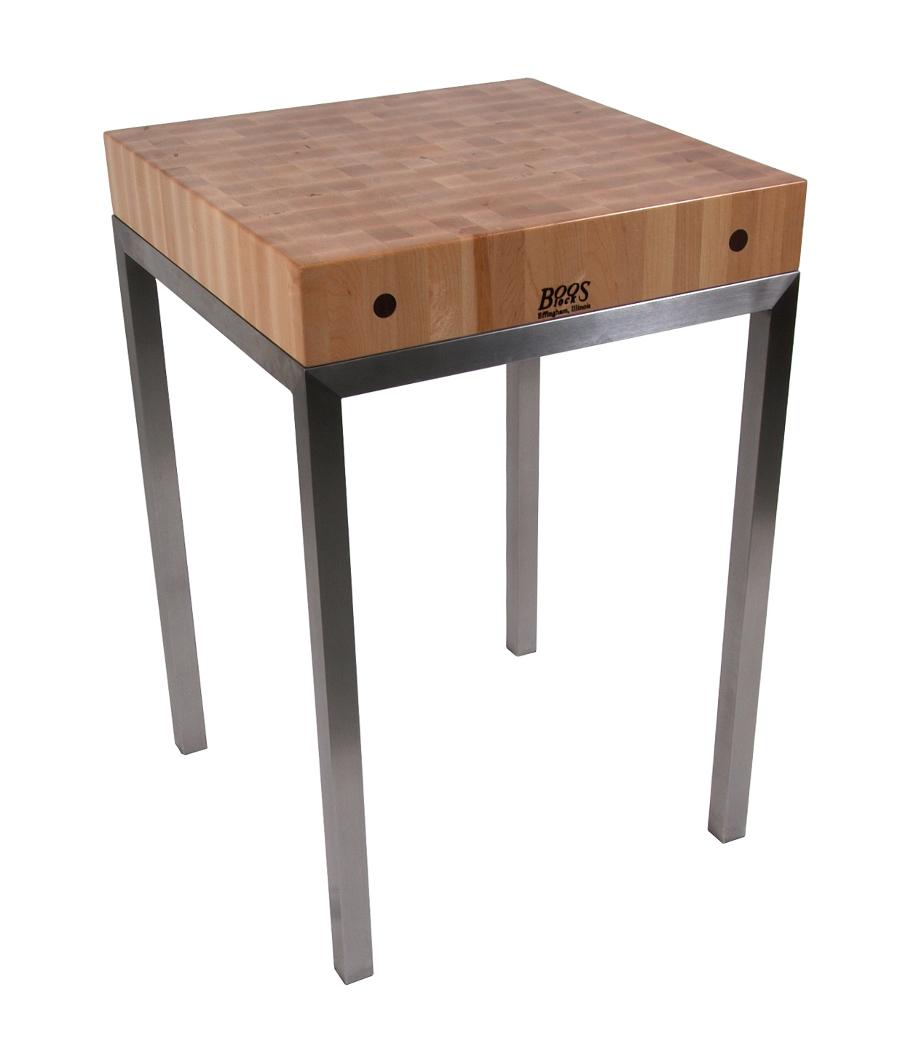 john boos dining table tops butcher block kitchen table John Boos Metro Station Butcher Block on Stainless Steel Frame 36