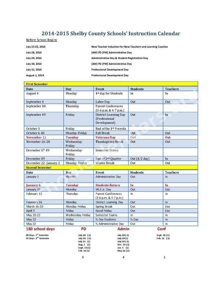 Calendar 2014 2015 Scs Instruction Calendar.2014 2015 Baltimore County ...