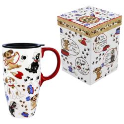 Innovative Silicone Lid A Dog Gift Boxed Travel Mug Animal Rescue Site Porcelain Coffee Cup Silicone Lid Porcelain Coffee Mug Tap Life