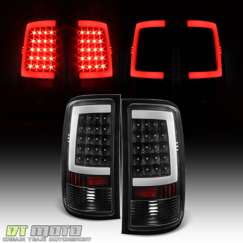 Black 2007 2013 GMC Sierra 1500 2500HD 3500HD LED Tube Tail Lights     GMC