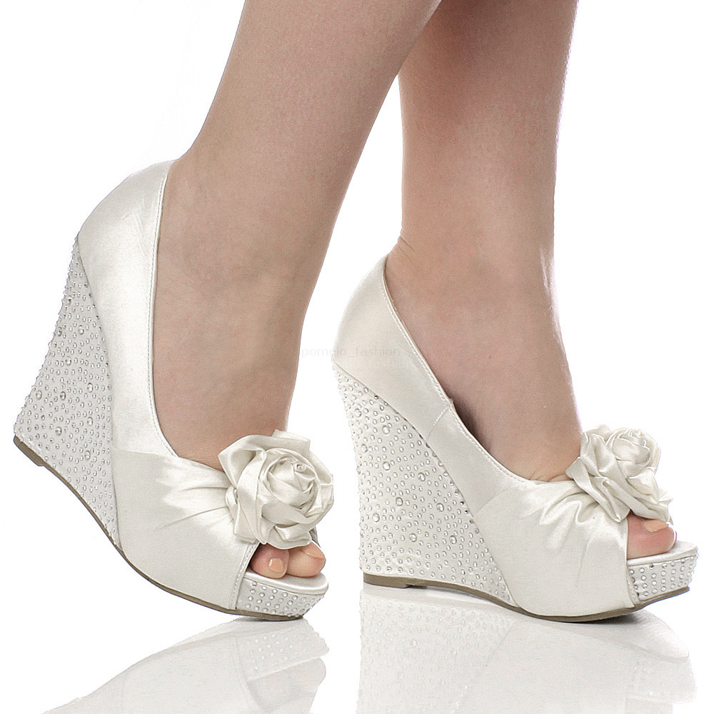 wedding shoes wedges WOMENS WEDDING PLATFORM WEDGE LADIES BRIDAL SANDALS EVENING