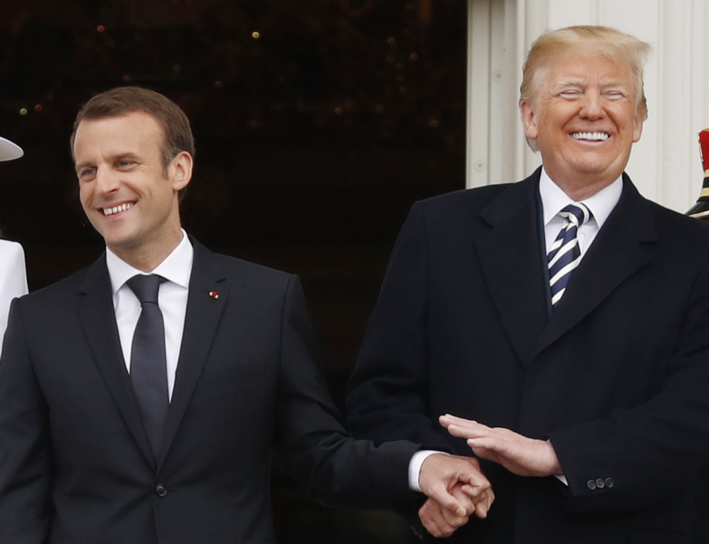 Analysis  Trump and French President Macron s unexpected friendship     French President Emmanuel Macron  left  and U S  President Donald Trump at  the official arrival