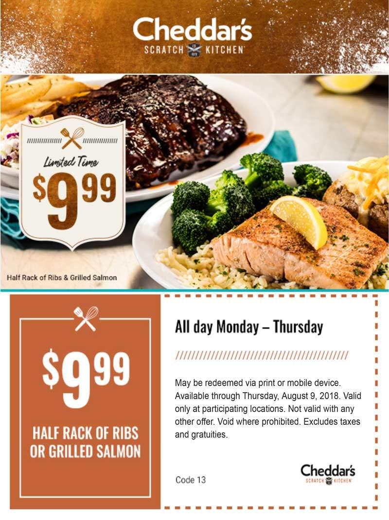 Affordable Cheddars Scratch Kitchen Coupon November 2018 Half Rack Ribs Or Salmon At Cheddars Scratch Cheddars Scratch Kitchen Coupons Half Rack Ribs Or Salmon At nice food Cheddars Scratch Kitchen