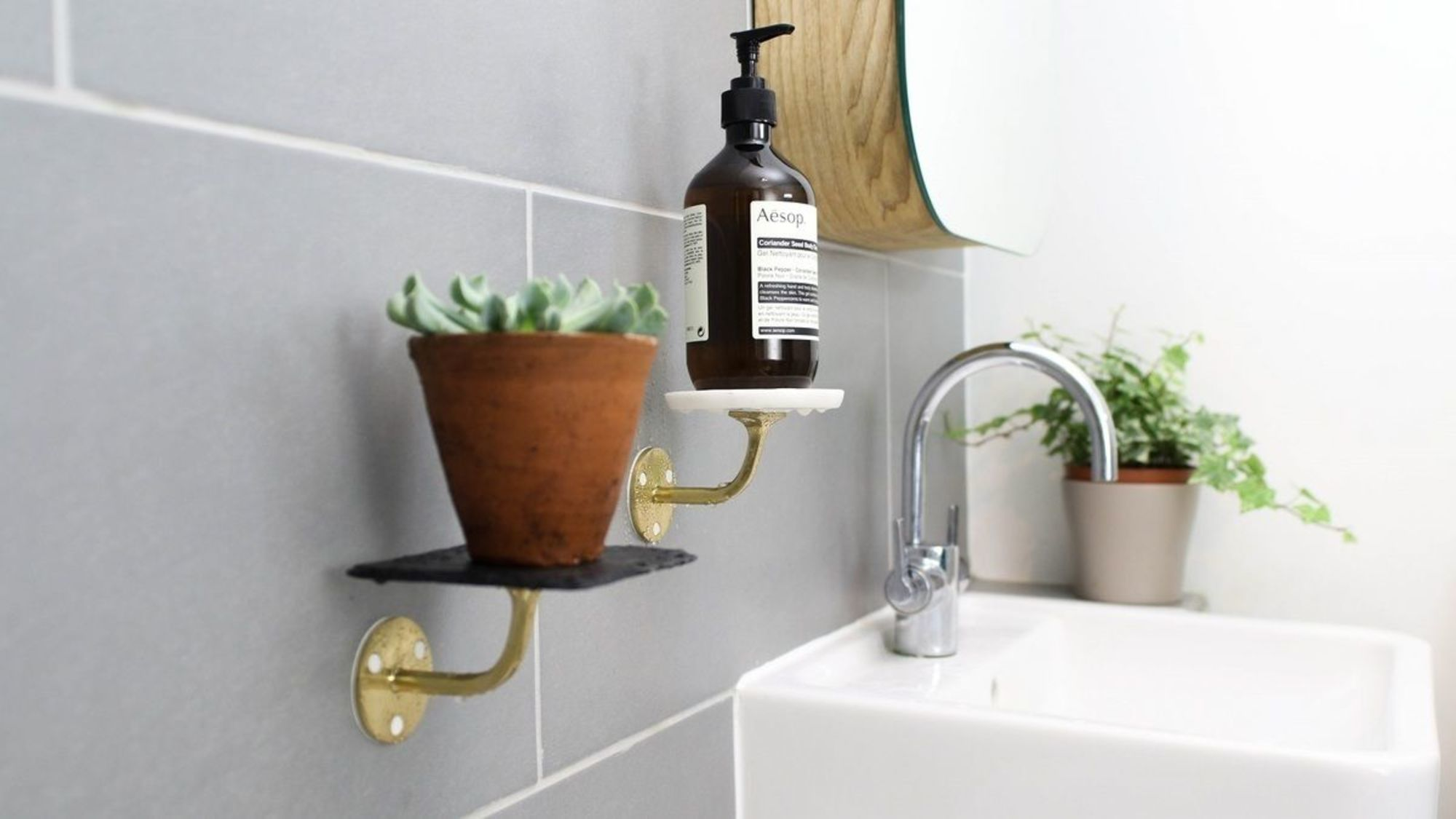 Charming Ceramicsand Used A Metal Handrail Sugru Is This Project Because It Bonds Well Marble Slate Coasters A How To Create Bathroom Shelves Without Drilling Sugru bathroom Wall Bathroom Shelves