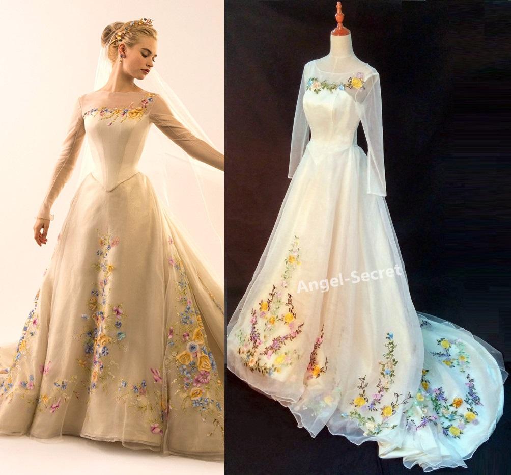 p movie costume cinderella ivory gown wedding bridal cm long trai cinderella wedding dresses P Movie Costume Cinderella ivory gown wedding bridal cm long train