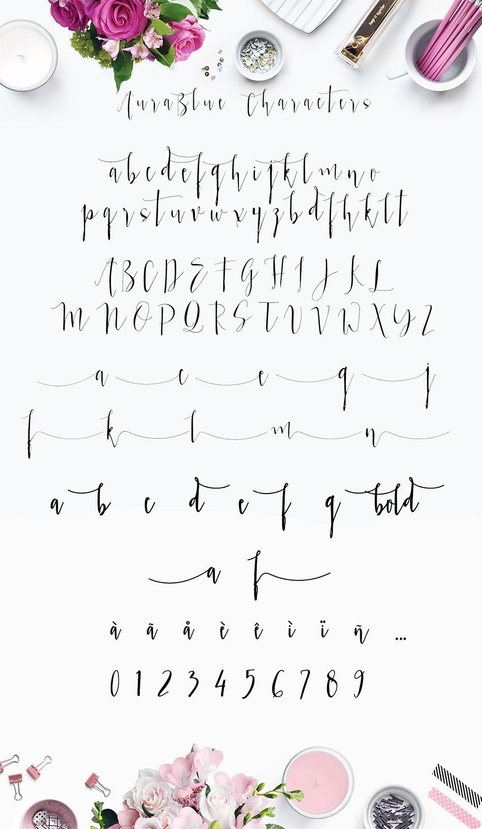 Aura Blue Calligraphy Font