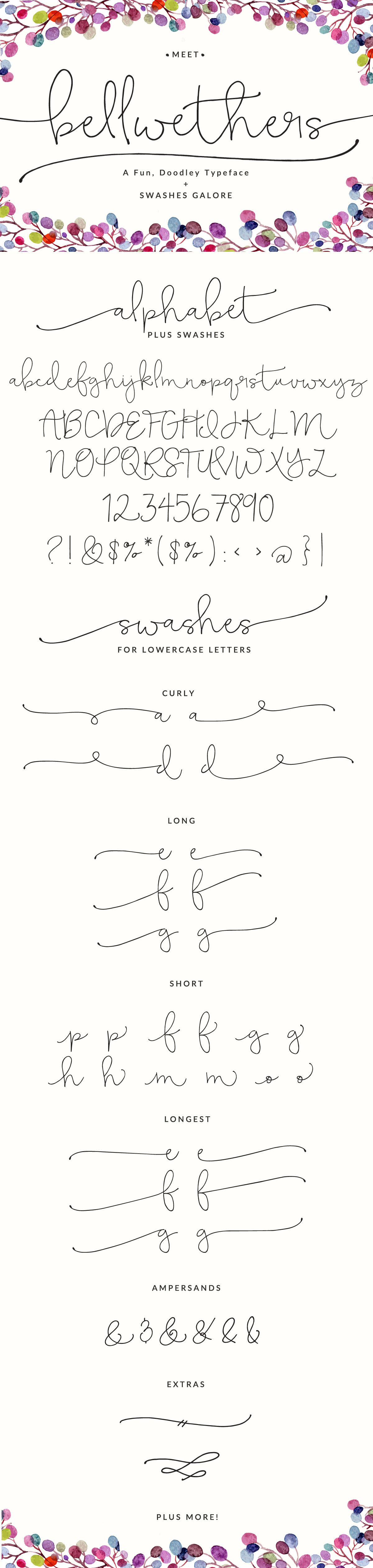 Bellwethers Font, a Fun Doodly Typeface. Fun curly hand-written font great for wedding invitations, logos and more.