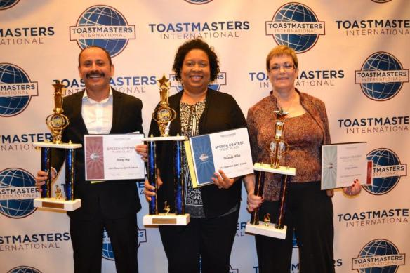2016 Humorous Speech Contest Winners (Left to Right): Meraj Beg (3rd Place), Yolanda Allen (1st Place), Cindy Cannon (2nd Place)