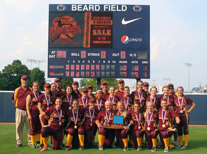 STATE CHAMPIONS — Elk County Catholic, your PIAA Class A softball champions. (Photo by Eric Elliott)