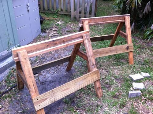 Finished sawhorses built from sawhorse plans