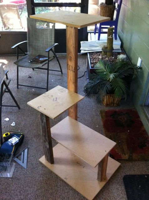 "I marked the uprights so I'd have some reference to fasten each level of the cat tower. Then, I assembled it in its entirety to check for fit prior to upholstery. What gets tricky is every piece gets ½"" larger after upholstering. The carpet is about ¼"" thick. I made up for that by cutting my boards a bit smaller (cut list is accurate), and trimming away some carpet in some locations on the uprights. You'll see where in the next few steps."
