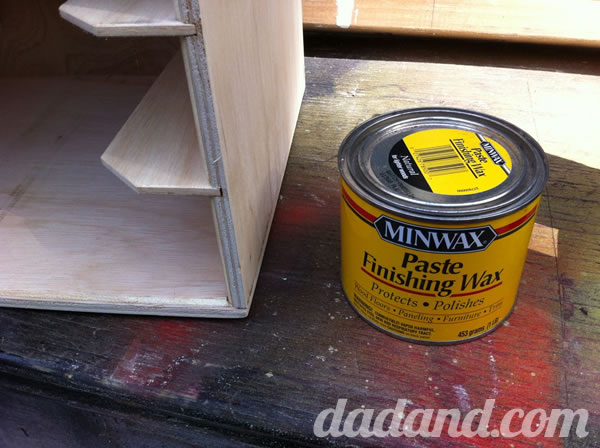 For some reason, I really like the look of waxed plywood. Not much of a sheen but offers a little protection from the humidity here at Dadand Florida. Just open a can and apply with a rag or whatever. I used a round wax pad like you use to wax your car.