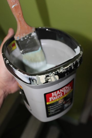 The pro or paint purist might wince here, but this little paint pail is pure gadgetry, with a built in magnet to hold your brush—enabling me to retain my man card and prevent a gallon-sized epic spill from the top rung of the ladder.