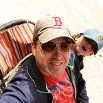 He's not thrilled that I've commandeered his stroller. But Daddy's…
