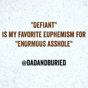 Because the only people ever described as defiant are children