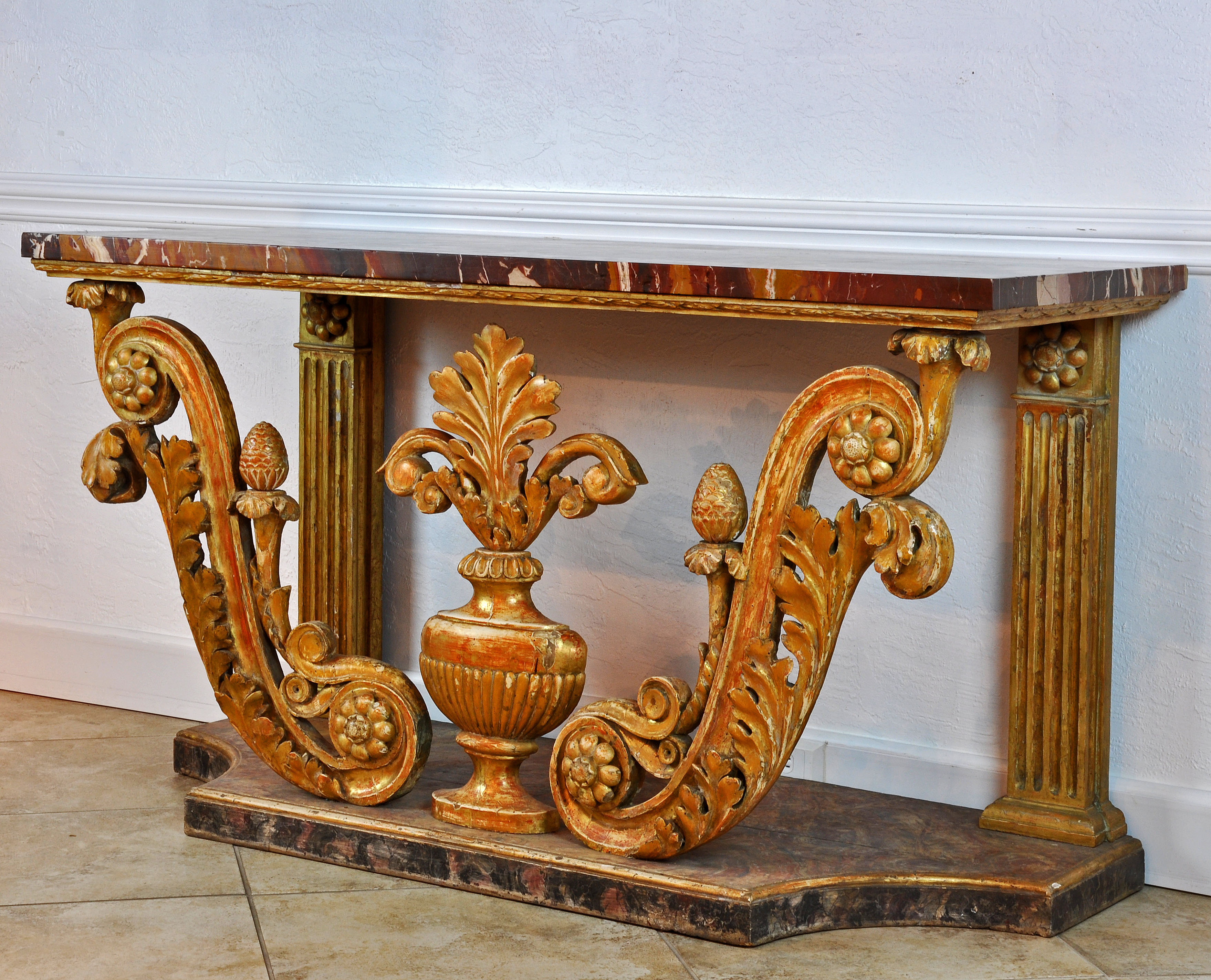 A Spectacular Italian Marble Top Console Table