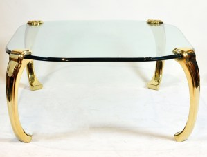 Brass and Tempered Glass Coffee Table