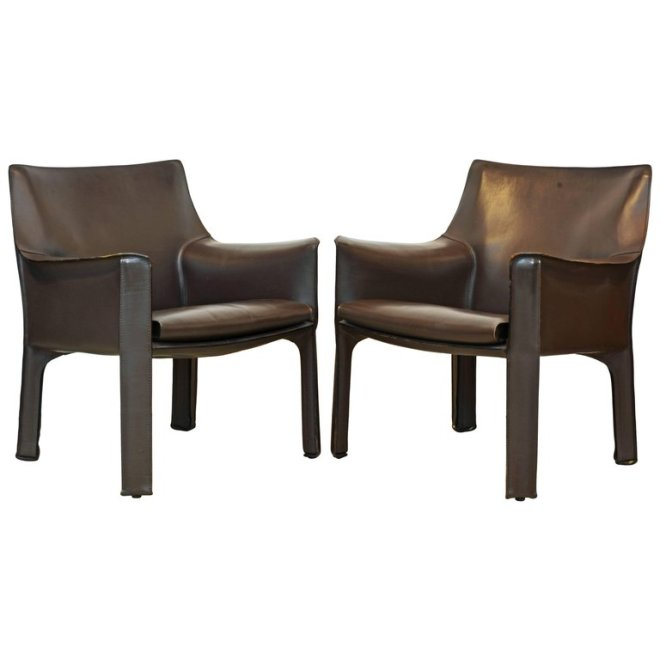 Pair of Mario Bellini Design Leather Cab Lounge Chairs by Cassina  Italy. DECORATIVE ARTS   FINE ANTIQUES   DAFA in Fort Lauderdale