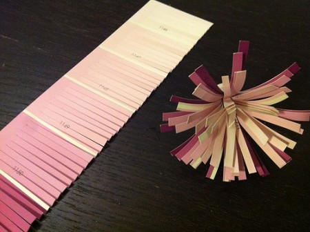 DIY paper flower made out of paint chip, tutorial