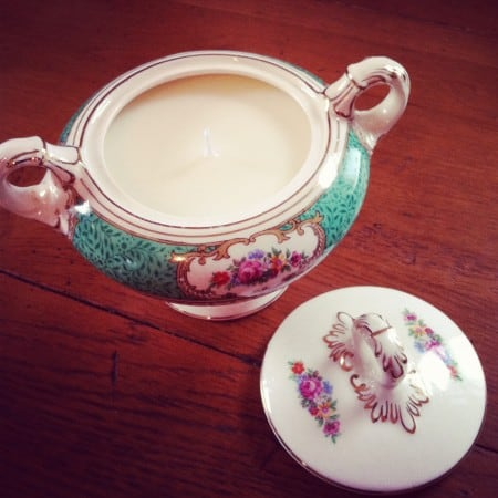 Dagmar's Home Decor handmde soy candles in vintage cup