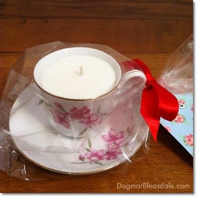 Dagmar's Home Decor handmade soy candle in teacup