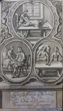 Following Richard Lower's public demonstration of dog-to-dog transfusion, the Royal Society struggled to find an individual willing to subject himself to transfusion. Image: Georg Abraham Mercklin, Ortu et Occasu Transfusionis (Nuremberg, 1679), frontispiece. Shows three scenes of transfusion. Credit: John Martin Rare Book Room, University of Iowa.