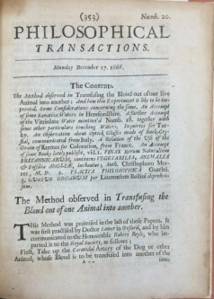 At the request of natural philosopher Robert Boyle, Richard Lower published his description for transfusing blood between dogs in The Philosophical Transactions, the journal of the Royal Society of London. Credit: John Martin Rare Book Room, University of Iowa.