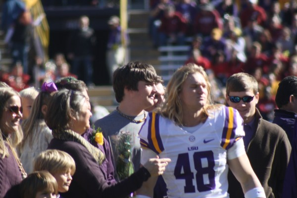 LSU no.48 Seth Fruge on senior day with his family.