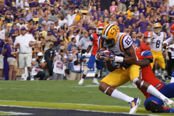 Wr Dural crosses the goal line for a TD