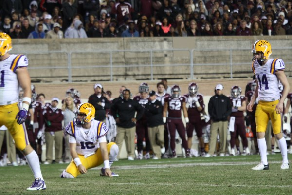 Trent Domingue lining up for another field goal, he scored 8 pts on the night..