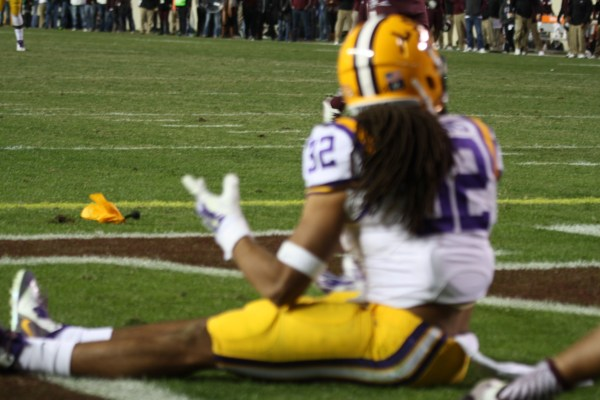 LSU Collins pleads his case with the ref, on a pass interference call.