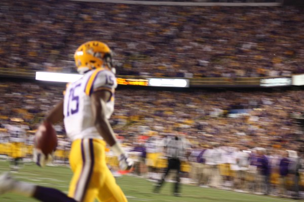 LSU Dupre celebrating his td.