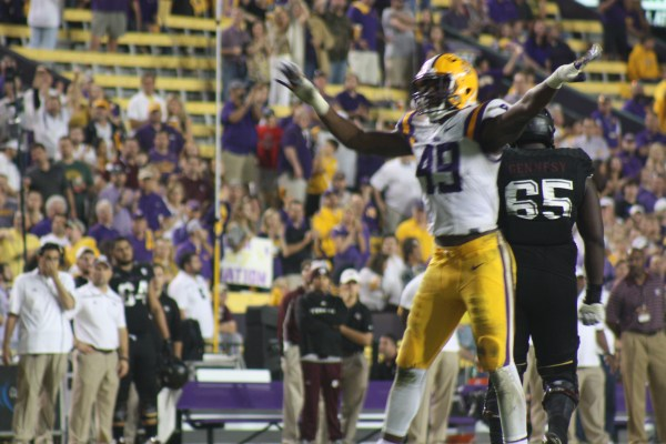 LSU de Keys sacks AM qb Alllen to put to rest any drives by the Aggies.