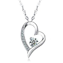 Sephla-14K-White-Gold-Overlay-Sterling-Silver-Forever-Lover-Heart-Pendant-Necklace-For-Women-0