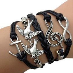 Susenstone-Double-Birds-Note-Charms-Leather-Wrap-BraceletAntique-Silver-Infinity-0