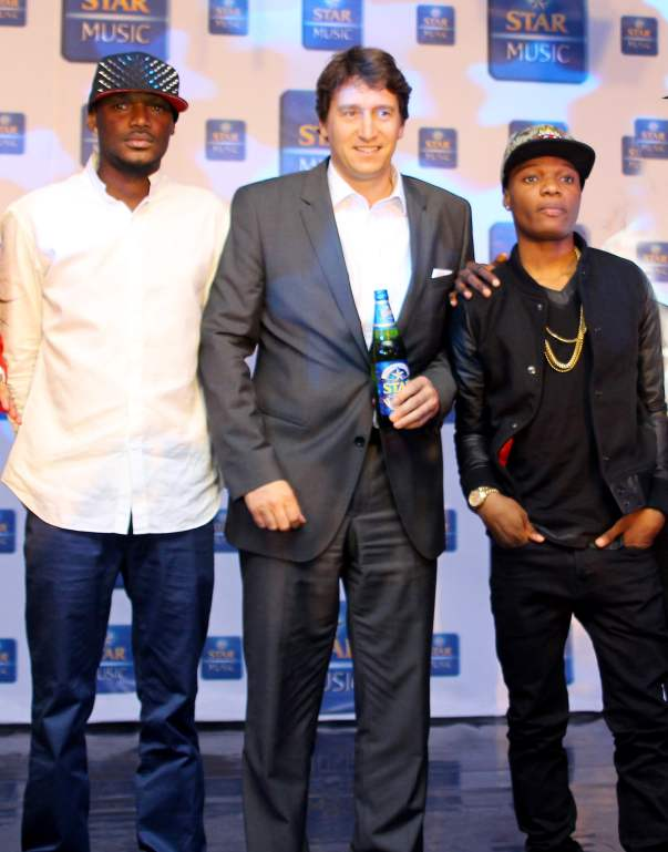 L-R  2face Idibia, Walter Drenth,Marketing Director Nigerian Breweries and Wizkid