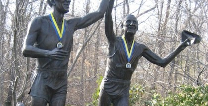 Just after Mile 19 lies the Johnny Kelley Statue