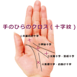 【手相紋占い③】手のひらにバツ印×やプラス印+のようなクロス(十字紋)がある手相