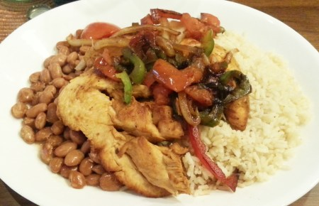 Chicken with Sauteed Vegetables and Rice and Beans