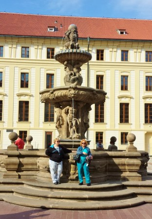 Prage Castle Second Courtyard - Therese and Eileen at the Fountain