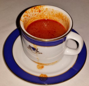 Amuse Bouche of Tomato Soup with Olive Oil