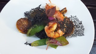 Main Dish of Calvados-grilled Shrimp and Squid-ink Risotto