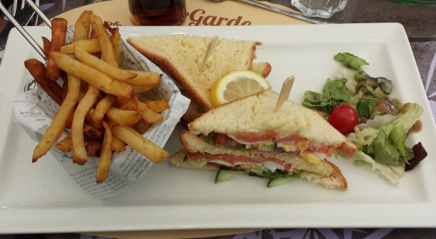 Club Sandwich with Fries at Le Garde Manger
