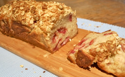 strawberry and banana bread with a coconut crumble