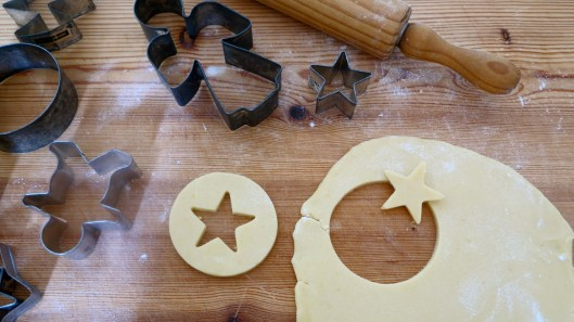 christmas cookie cutting